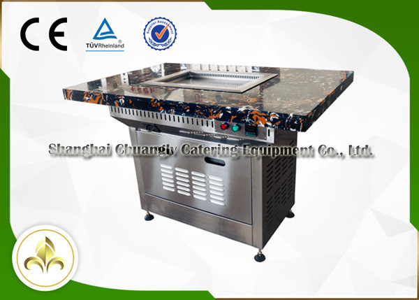 Stainless Steel Electric Self Service Mini Teppanyaki Table Grill Down Exhaustion for Restaurant Hotel